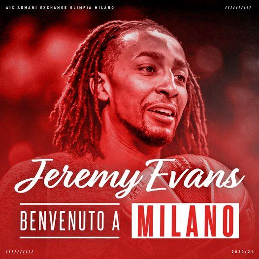Turkish Airlines Euroleague 2020-21: l'Olimpia Milano si assicura con Jeremy Evans per la parte finale di Eurolega