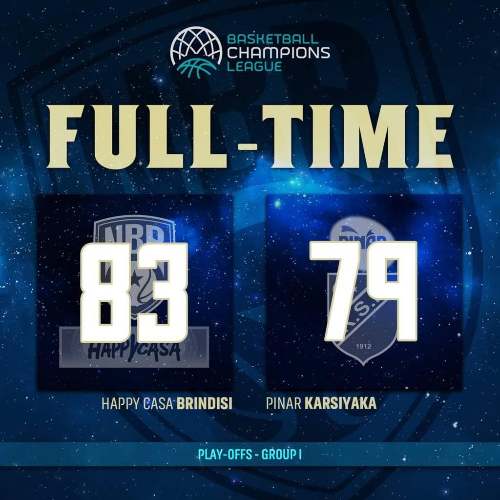 Basketball Champions League #Game2 Playoffs 2021: l'Happy Casa Brindisi sempre più happy perchè gioca meglio del Pinar Karsiyaka e vince in casa 83-79