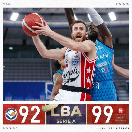 LBA UnipolSai 7^ ritorno 2020-21: Brescia lotta fino alla fine ma il Chacho e Brooks trascinano l'Olimpia Milano alla vittoria