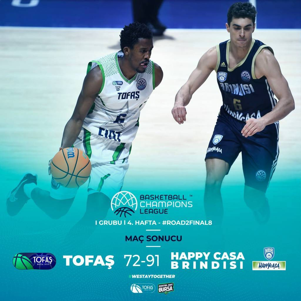 Basketball Champions League #Game4 Playoffs 2021: l'Happy Casa Brindisi detta legge in casa del Tofas Bursa vincendo nettamente 72-91