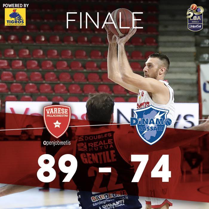 LBA Unipolsai 6^ ritorno 2020-21: la miglior Openjobmetis Varese della stagione frena la corsa della Dinamo Sassari alla nona vittoria di fila