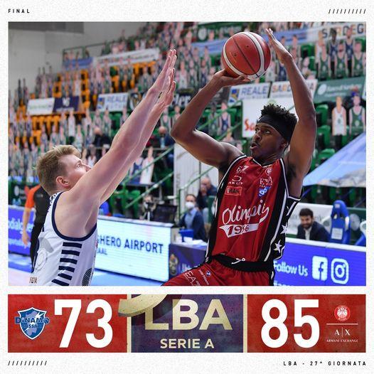 LBA 12^ritorno 2020-21: Leday e Shields trascinano l'Olimpia Milano a Sassari, espulso Messina