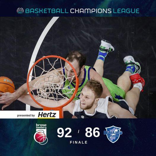 Basketball Champions League recupero #Game3 Playoffs 2021: la Dinamo Sassari anche a Bamberg da il meglio di se ma nel finale cede al Brose ed è fuori dal torneo.