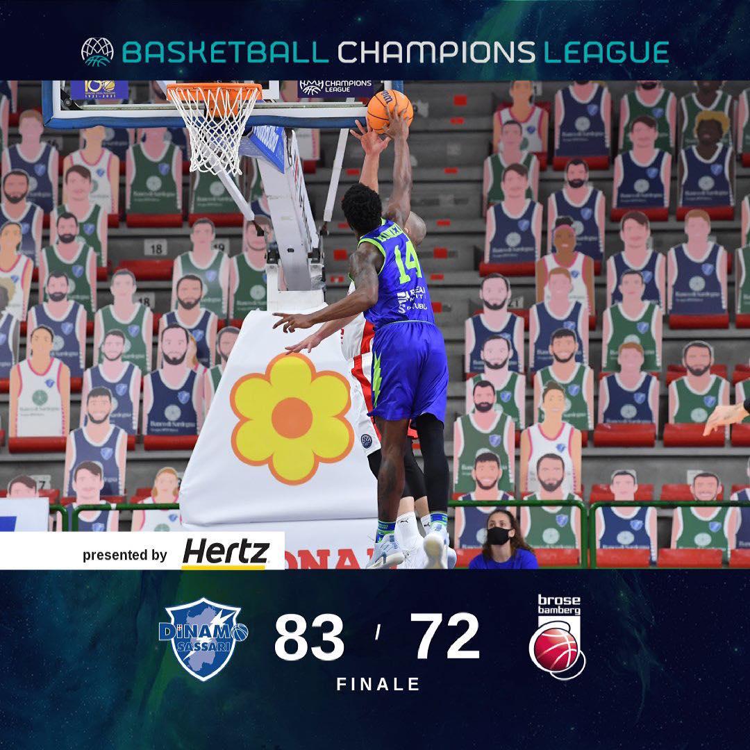 Basketball Champions League recupero #Game6 2020-21: la Dinamo Sassari chiude con onore battendo il Brose Bamberg una stagione da dimenticare