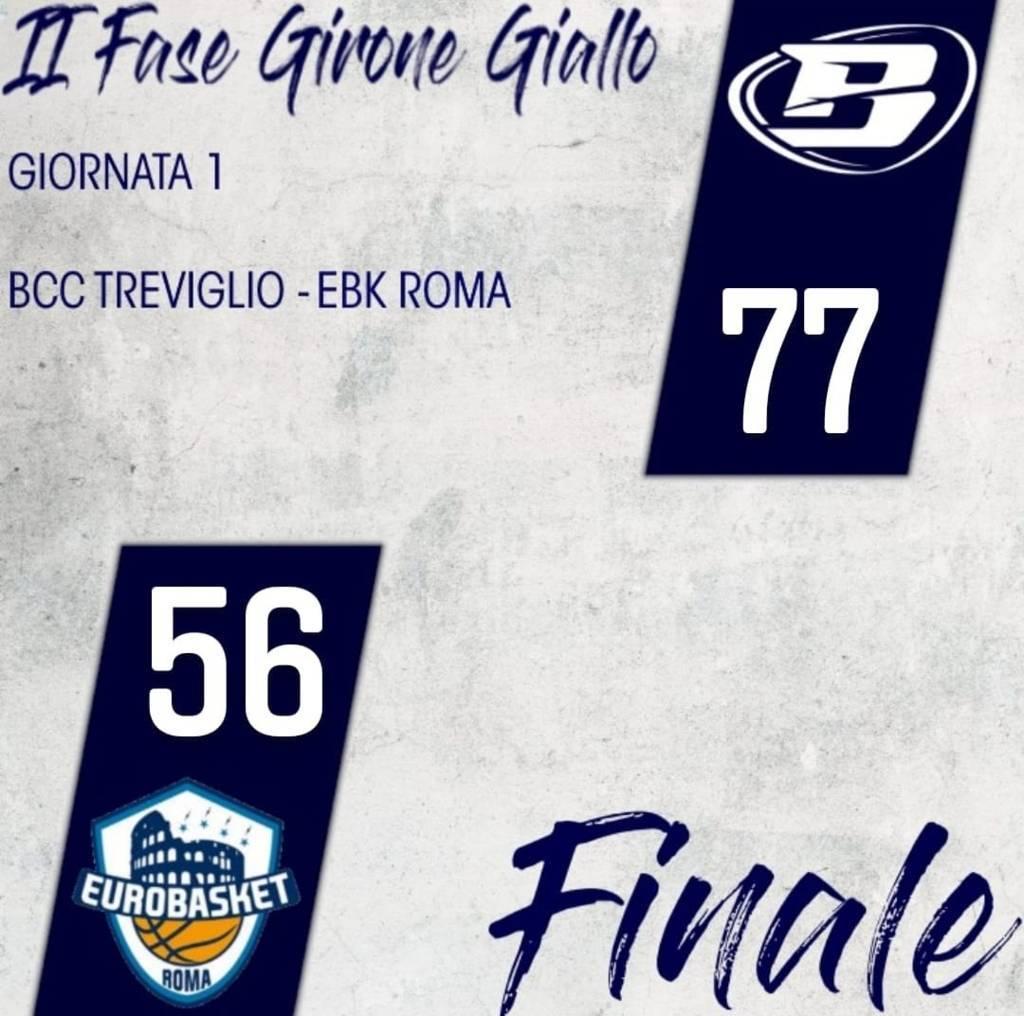 A2 Old Wild West 1^ giornata girone giallo 2020-21: l'Atlante Eurobasket Roma cede all'esordio in casa della Blu Basket Treviglio per 77-56