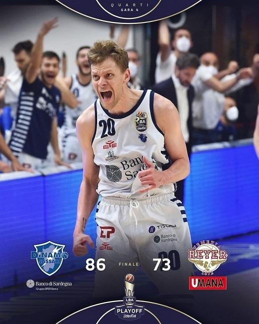 LBA #Gara4 quarti Playoffs 2021: dopo una serata pazza, le bombe della Dinamo Sassari affondano l'Umana Reyer Venezia e la trascinano a Gara 5