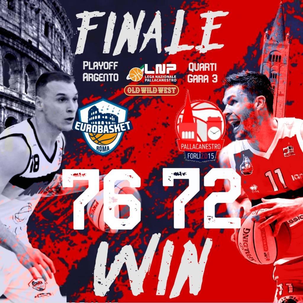 A2 #Gara3 Quarti Playoffs 2021: l'Atlante Eurobasket Roma torna in vantaggio nella serie battendo Forli 76-72