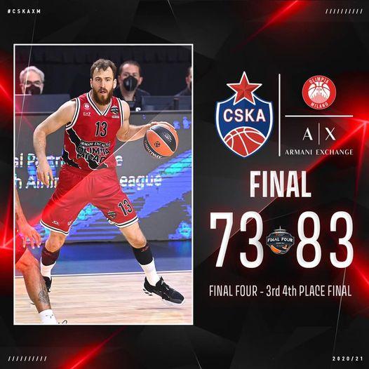 Turkish Airlines Euroleague 2020-21 #FinalFour #Finalina: l'Olimpia sconfigge il Cska e chiude terza la sua grande annata europea