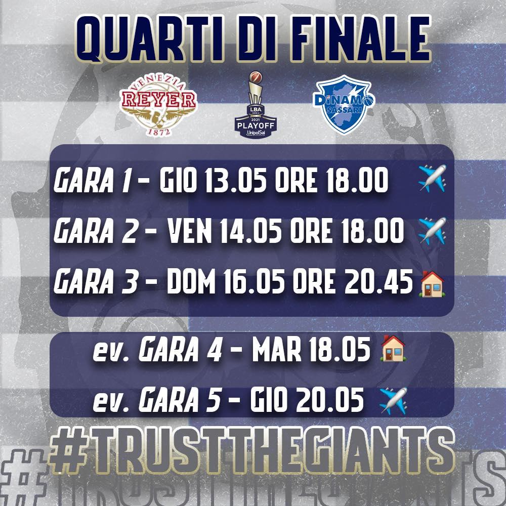LBA preview #Gara1 quarti Playoffs 2021: le rivali di questi ultimi tre anni, Reyer Venezia e Dinamo Sassari, iniziano domani un nuovo duello