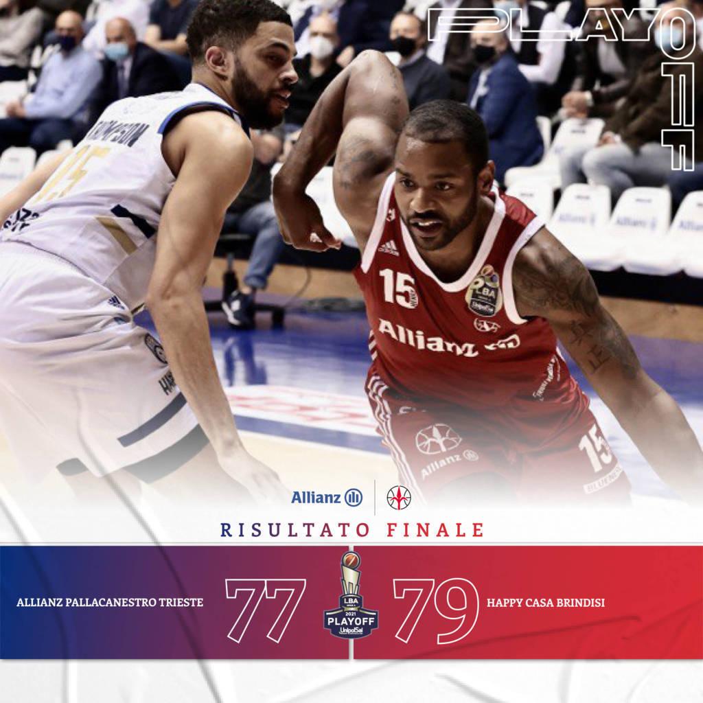 LBA #Gara3 quarti Playoffs 2021: l'Happy Casa Brindisi fa la storia, battuta l'Allianz Trieste e vola in semifinale scudetto per la prima volta!