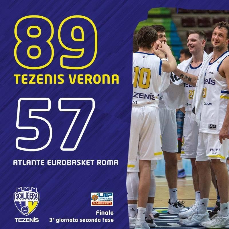 A2 Old Wild West 3^ giornata girone giallo 2020-21: la Tezenis Verona non si ferma davanti all'Atlante Eurobasket Roma e sono 11 vittorie consecutive