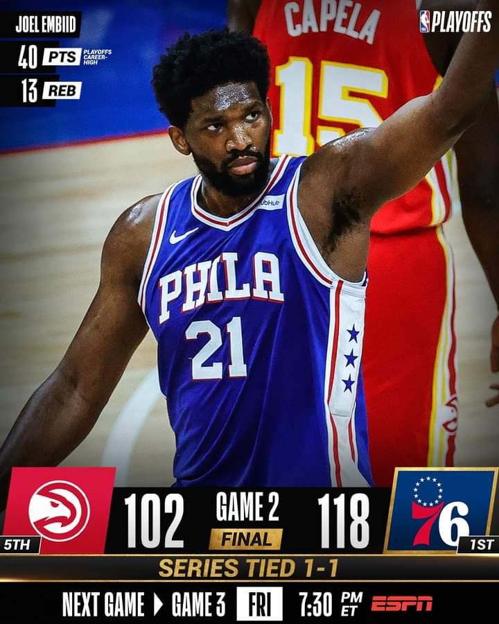 NBA #Gara2 Playoffs semifinali 2021: super Joel Embiid si carica i Philadelphia Sixers sulle spalle ed impatta sull'1-1 la serie vs gli Atlanta Hawks