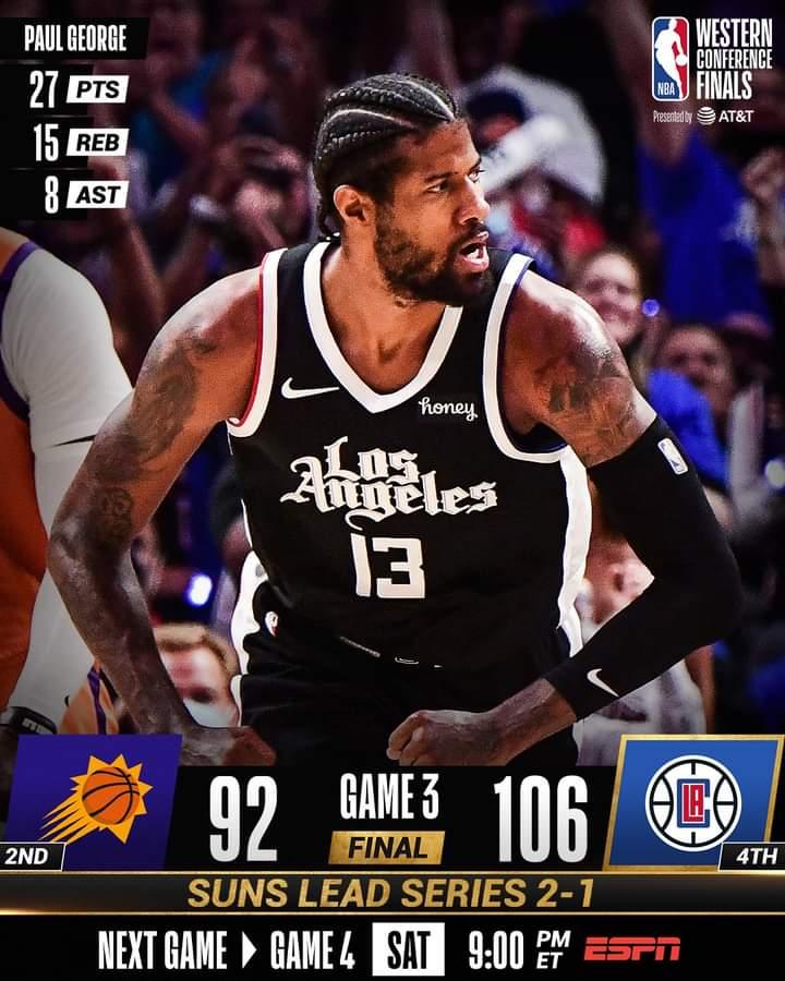 NBA Playoffs #Gara3 Finali Ovest 2021: riscossa dei Los Angeles Clippers sui Phoenix Suns, 106-92 con Paul George sugli scudi
