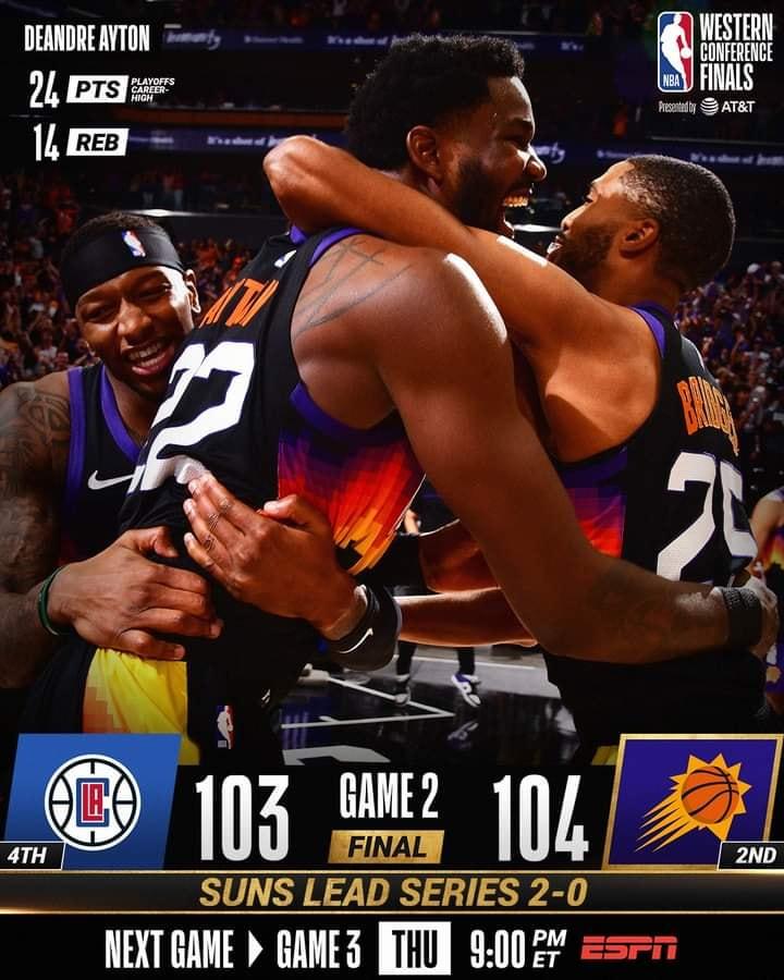 NBA Playoffs #Gara2 Finali Ovest 2021: DeAndre Ayton segna allo scadere, vincono ancora i Phoenix Suns, KO Los Angeles Clippers e serie sul 2-0