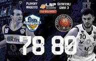 A2 #Gara3 Semifinali Playoffs 2021: ancora equilibrio a Ferentino con l'Atlante Eurobasket Roma che sbaglia il tiro della vittoria, festeggia il Derthona Basket 78-80