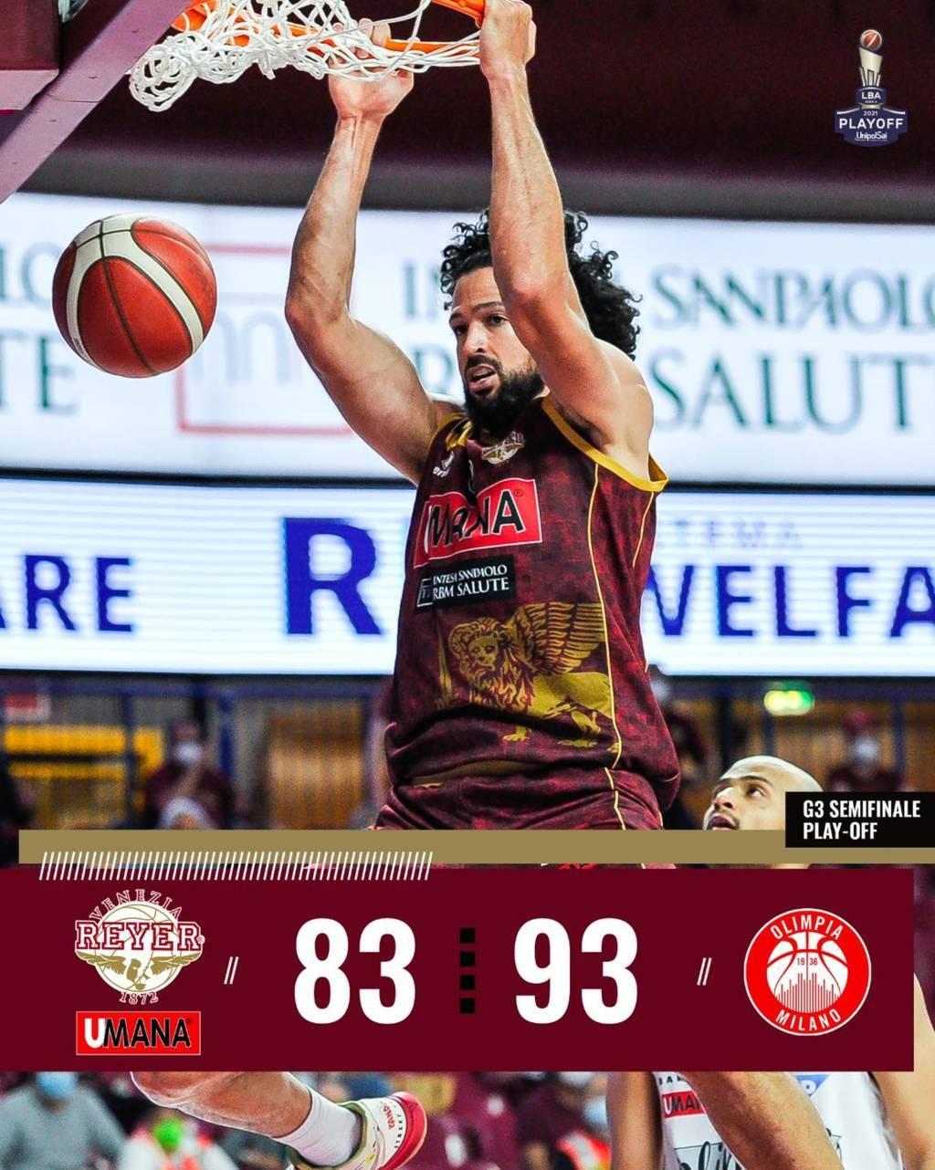 LBA #Gara3 #Playoff #Semifinali 2021: Olimpia Milano, è finale! Con un secondo tempo perfetto regola la Reyer Venezia e chiude la serie 3-0