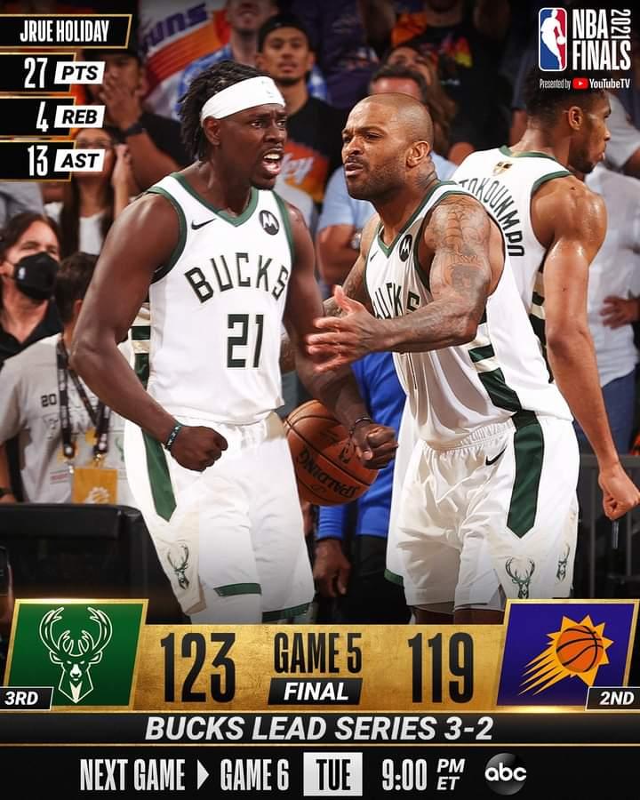 NBA Playoffs Finals #Gara5 2021: spettacolo a Phoenix, vincono i Milwaukee Bucks ed ora i Suns sono spalle al muro