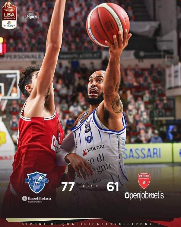 LBA Supercoppa Discovery+ 6^ giornata 2021: la Dinamo Sassari vince anche l'ultima contro l'Openjobmetis Varese e chiude il girone da imbattuta