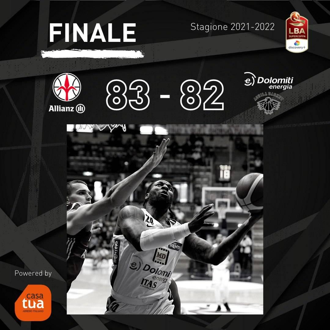 LBA Supercoppa Discovery+ 4^ giornata 2021: l'Allianz Trieste ringrazia Grazulis che stoppa Flaccadori, Dolomiti Energia Trentino KO ed eliminata dal torneo