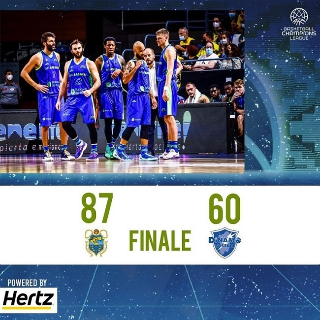 FIBA Basketball CL #Game2 2021-22: la Dinamo Sassari dura un quarto e poi affonda, il Lenovo Tenerife è di un altro livello