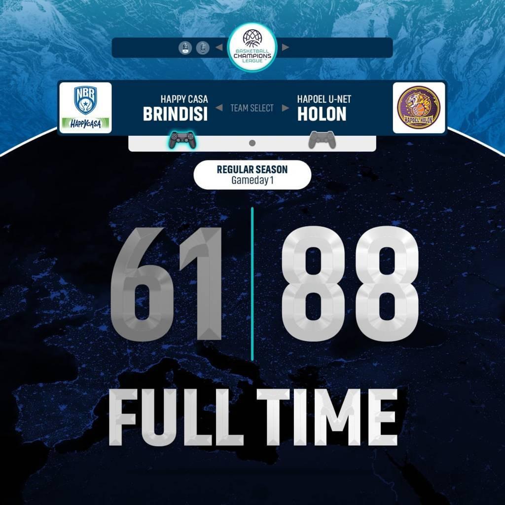 FIBA Basketball CL #Game1 2021-22: l'Happy Casa Brindisi parte male e finisce peggio al debutto in casa vs l'Hapoel Holon